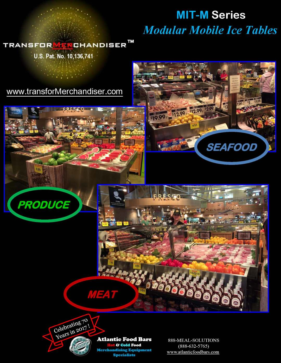 Atlantic Food Bars - Modular Mobile Ice Tables for Seafood, Meat or Produce - The transforMerchandiser MIT-M