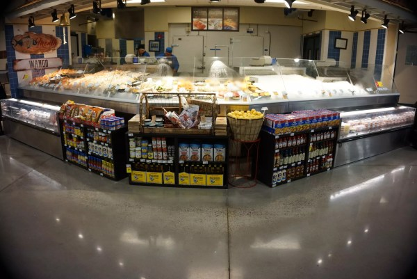 Refrigerated Seafood Merchandisers with Wedge and Front Grab and Go Knee Knockers for Cold Packaged Food - Atlantic Food Bars - FSC-KKV FSCN-W2 1