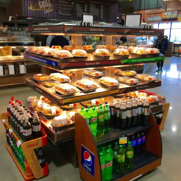 Island Express Plus Three Level Hot Grab and Go Merchandiser - Wide Model - Atlantic Food Bars - IMN7245-AS 4