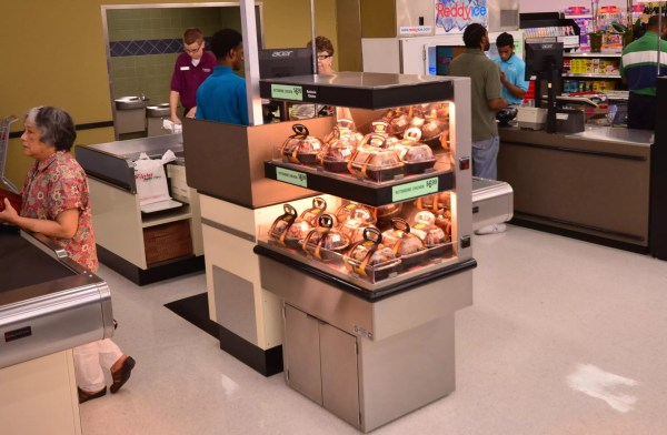 Low-Profile Two-Level Rotisserie Chicken Checkout Lane Merchandiser - Atlantic Food Bars - ECE2-3635 2