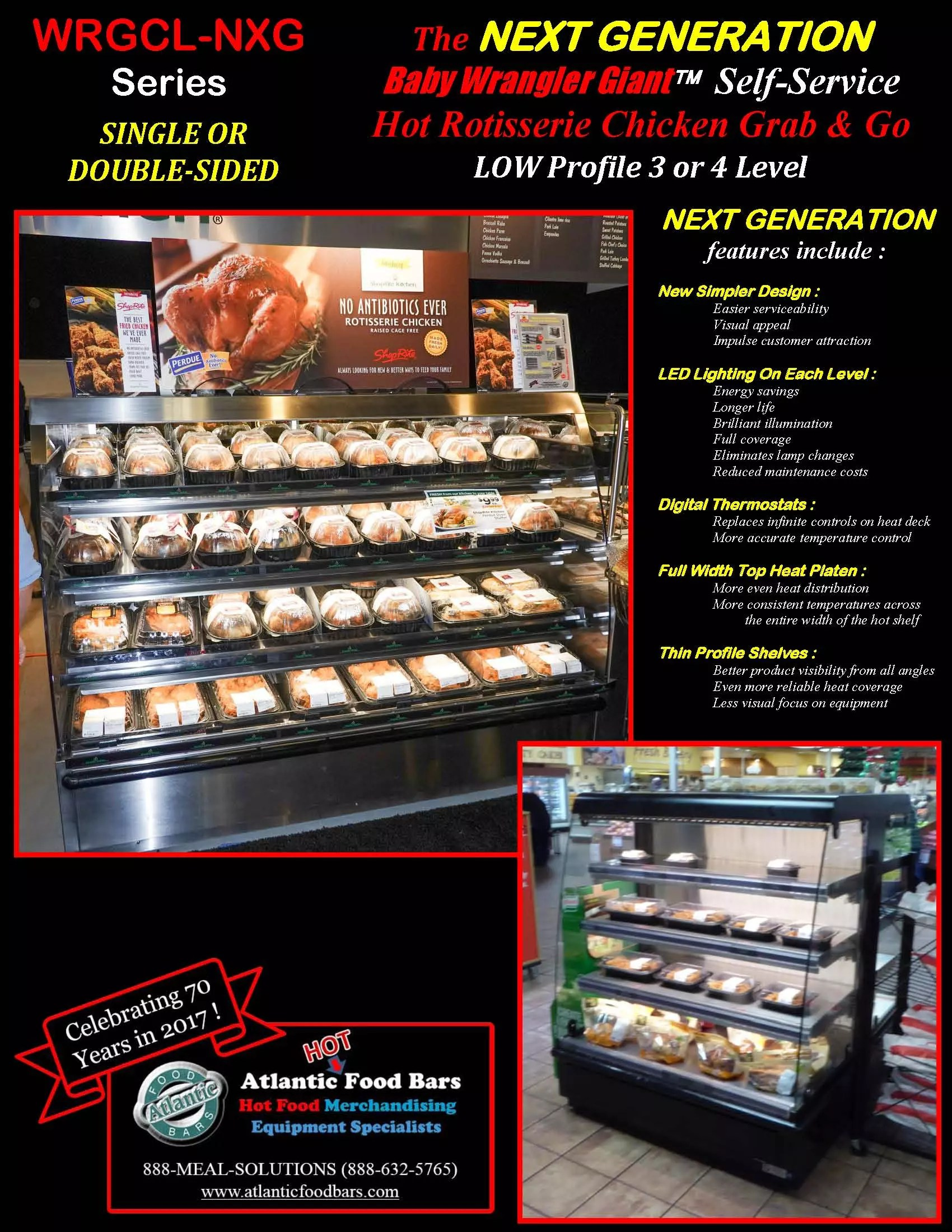 Atlantic Food Bars - Single or Double Sided Hot Food Display Case for Rotisserie Chicken and Pizza - Baby Wrangler Giant WRGCL7237-NXG WRGCL5060D
