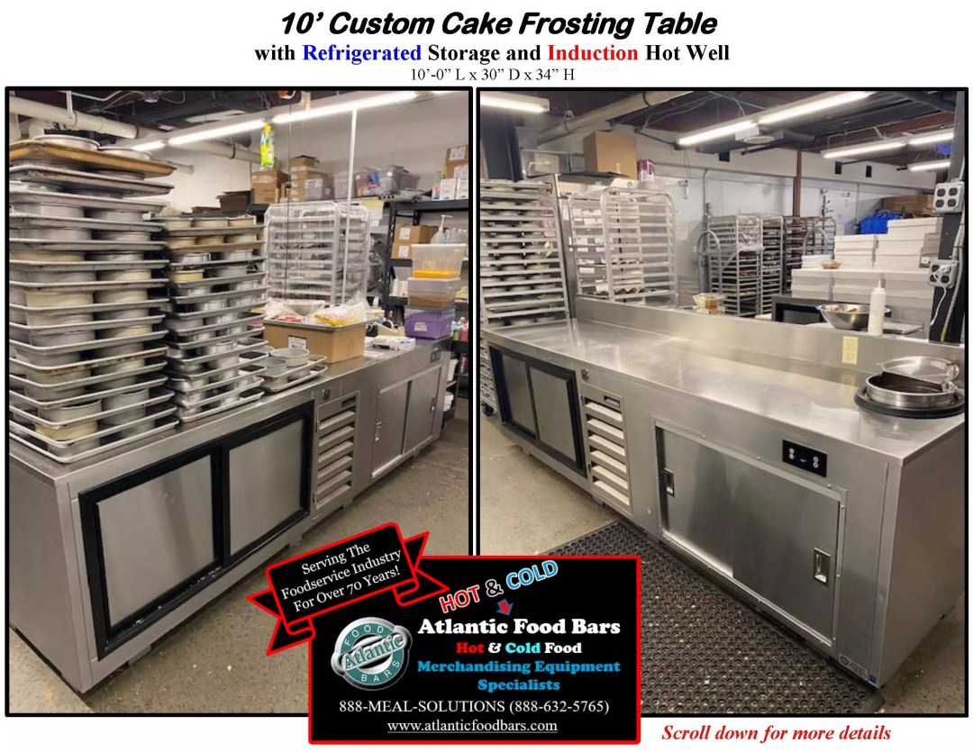 Atlantic Food Bars - 10' Custom Cake Frosting Table with Refrigerated Storage and Induction Hot Water Well to Sanitize Spatulas_Page_1