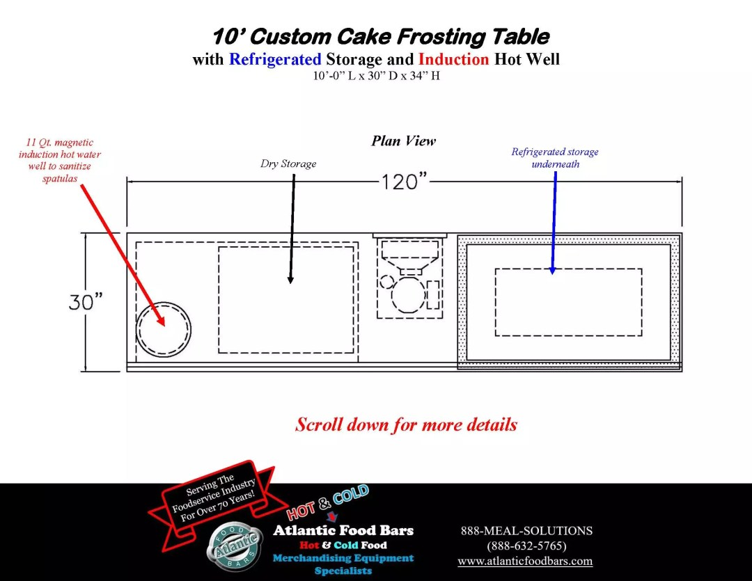 Atlantic Food Bars - 10' Custom Cake Frosting Table with Refrigerated Storage and Induction Hot Water Well to Sanitize Spatulas_Page_3