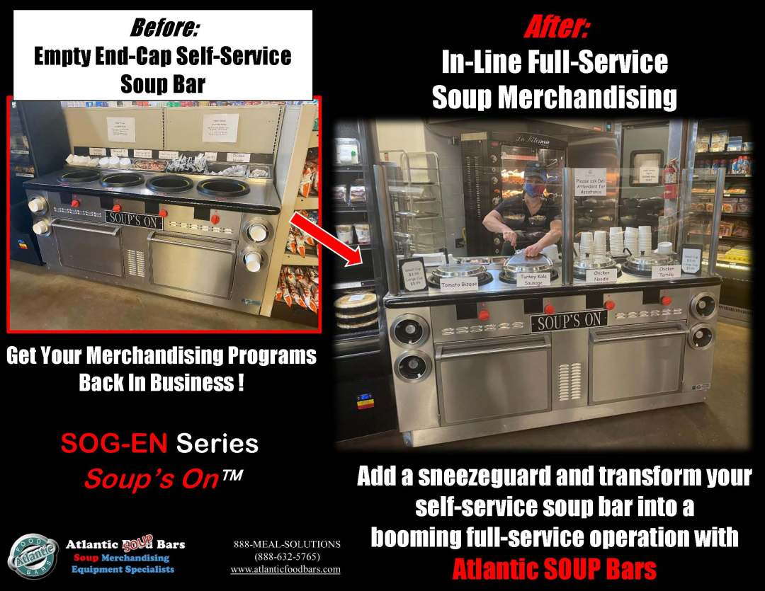 Atlantic Food Bars - Before and After - Soup Bars with Sneezeguard Added - Modified for Full Service - SOG-EN