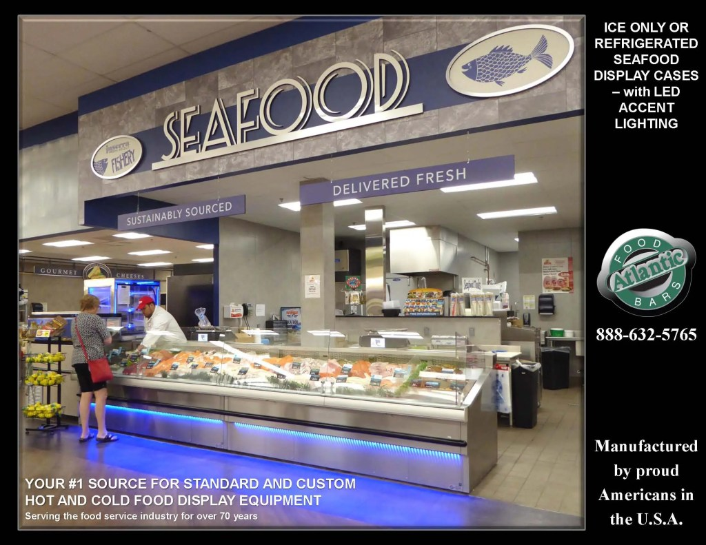 Atlantic SEAFood Bars - Ice Only or Refrigerated Seafood Display Cases with Custom Shapes, Angles, Options and Sizes 1