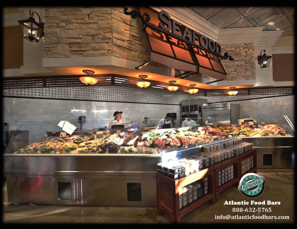 Atlantic SEAFood Bars - Ice Only or Refrigerated Seafood Display Cases with Custom Shapes, Angles, Options and Sizes 2