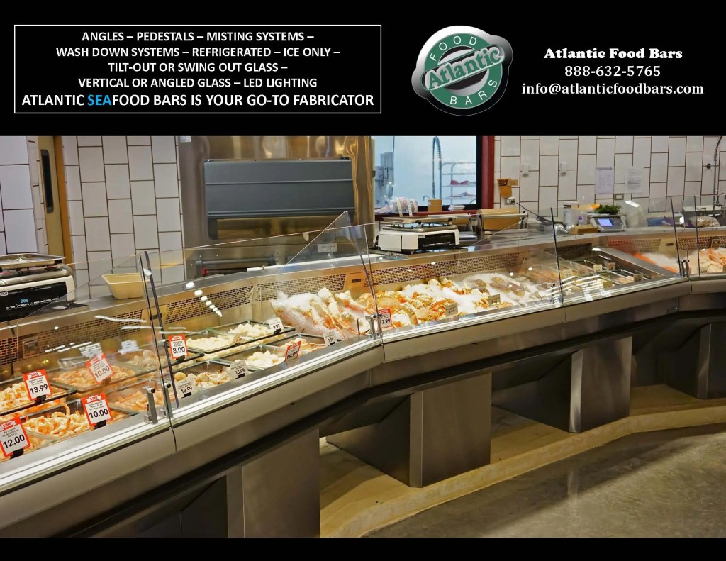 Atlantic SEAFood Bars - Seafood Merchandisers with Angles, Pedestals, LED Accent Lighting, Misting Systems and more 2