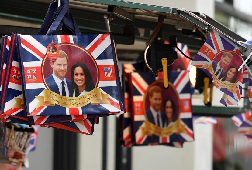 Commemorative items are seen for sale ahead of the forthcoming wedding of Britain's Prince Harry and his fiancee Meghan Markle, on Oxford Street in London, Britain
