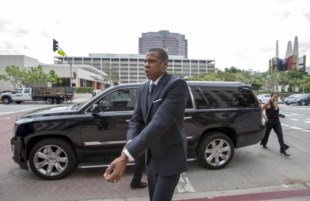 Rapper Jay Z arrives at a United States District Court to testify in downtown Los Angeles