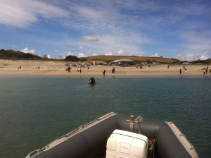 Going ashore at Pentewan