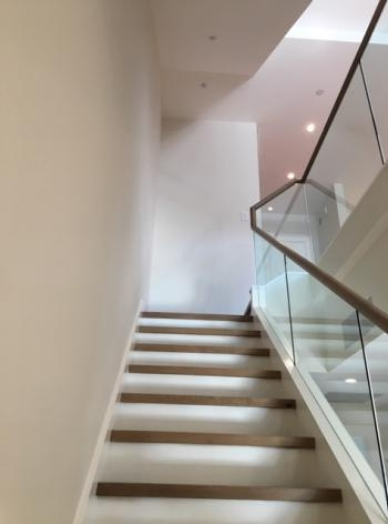 Glass Handrail Systems Atlantic Shower Door | Glass Banisters For Stairs Price | Floating Stairs | Oak Staircase | Oak Handrail | Wood | Curved Glass