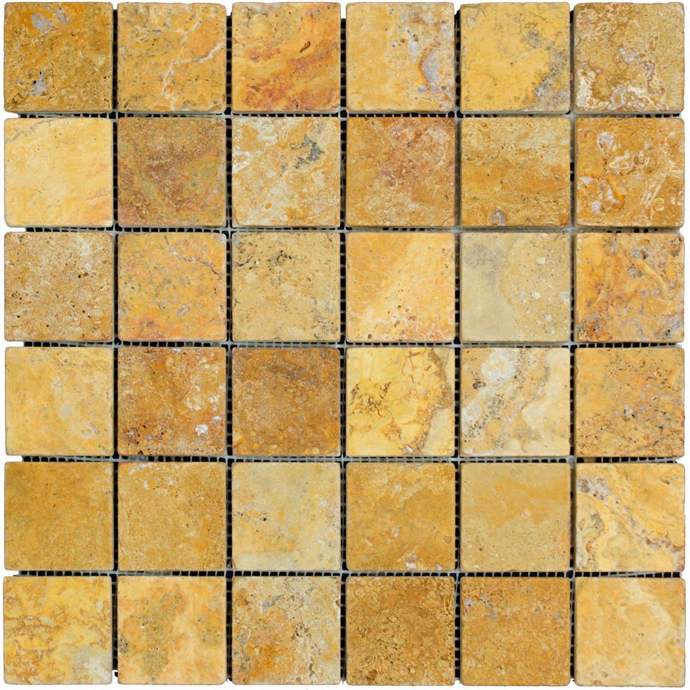 Gold Tumbled Travertine Mosaic Tiles 2x2