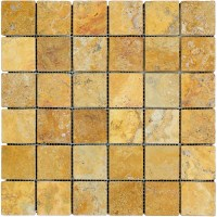 Gold Tumbled Travertine Mosaic Tiles 2x2 - Natural Stone ...