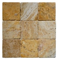 Gold Tumbled Travertine Mosaic Tiles 44 | Atlantic Stone ...