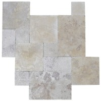 Walnut Tumbled French Pattern Travertine Tiles - Natural ...