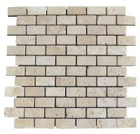 White Tumbled Travertine Mosaic Tiles 1x2 - Natural Stone ...