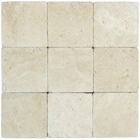 White Tumbled Travertine Mosaic Tiles 4x4 - Natural Stone ...