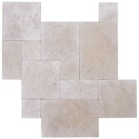 Ivory Tumbled French Pattern Travertine Tiles | Atlantic ...