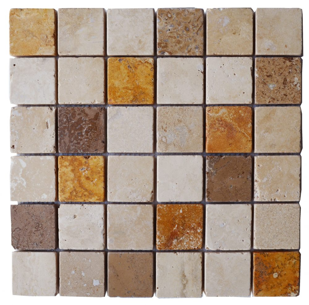 Emperador White Noce Mix Tumbled Marble Travertine Mosaic