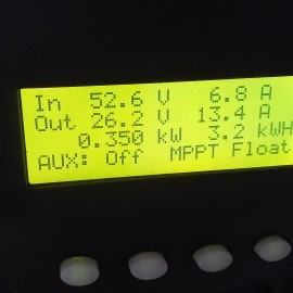 3.2 kw / h and the battery is in float mode