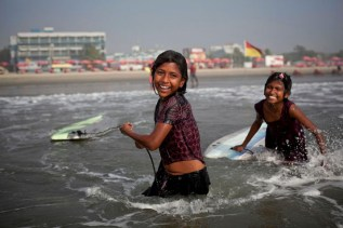 Girls surfing in Cox's Bazar | Photo: Allison Joyce
