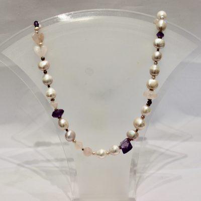 Pink Pearl, Rose Quartz, Amethyst Necklace