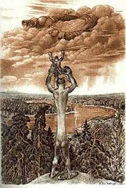 Abb. 1 Mythologischer Riese (Sage von Vanapagan)