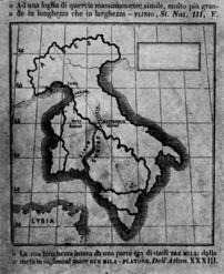 Abb. 2 Das urzeitliche, 'atlantidische' Italien mit heute im Mittelmeer versunkenen Landgebieten, wie Leonardi es 1937 präsentierte.