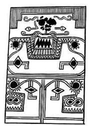 Abb. 3 Die Skizze einer Schmuck-Tafel, welche William Niven in einer Grabstätte am Rio del Oro, bei der Ortschaft Placeres del Oro im mexikanischen Bundesstaat Guerrero entdeckte. Ihre Länge betrug ca. 0,71 m, ihre Breite 46 cm, und sie war 5 cm dick.