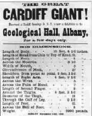 Abb. 5 Auch Phineas T. Barnum, der Zirkus- und Schausteller-König, wollte mit dem 'Riesen von Cardiff' ein Geschäft machen. Ein Plakat wirbt für eine seiner Ausstellungen des 'Cardiff-Giganten'.