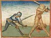 Abb. 3 Ritterlicher Kampf gegen einen riesigen Waldmenschen (Mittelalterliche Buchmalerei)
