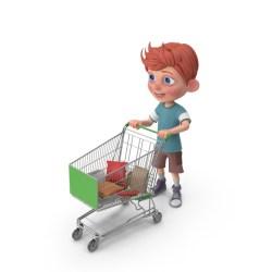 shopping cartoon cart boy holding charlie basket childrena pixelsquid psd
