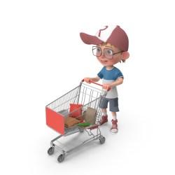 shopping boy cartoon cart harry grocery pixelsquid psd