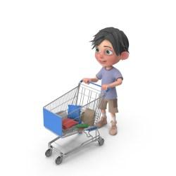 shopping pixelsquid jack cart boy cartoon