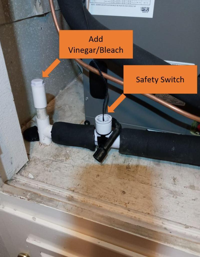 HVAC drain line and switch