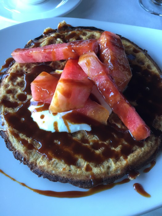 Waffles at the Hotel Wailea - served with fresh watermelon, yogurt and caramel syrup