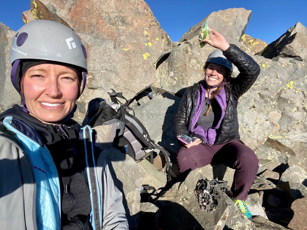 At the summit of El diente before starting the El Diente Mt. Wilson Traverse