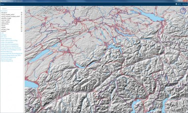 Basemap: Combination of Raster data (Relief) and Vector data (Lakes and Rivers, Settlements, Roads, Boundaries)