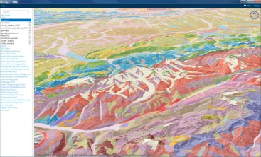Terrain Model and Choropleth layer (Geology)