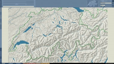 2D Basemap Switzerland: Relief, rivers and lakes, and boundaries