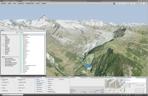 Index of names: Selection and filtering of names; direct localization in the 3D map