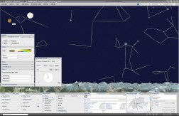 Night sky in panorama map: Setting of date and time, display of the solar system, the stars and the star constellations