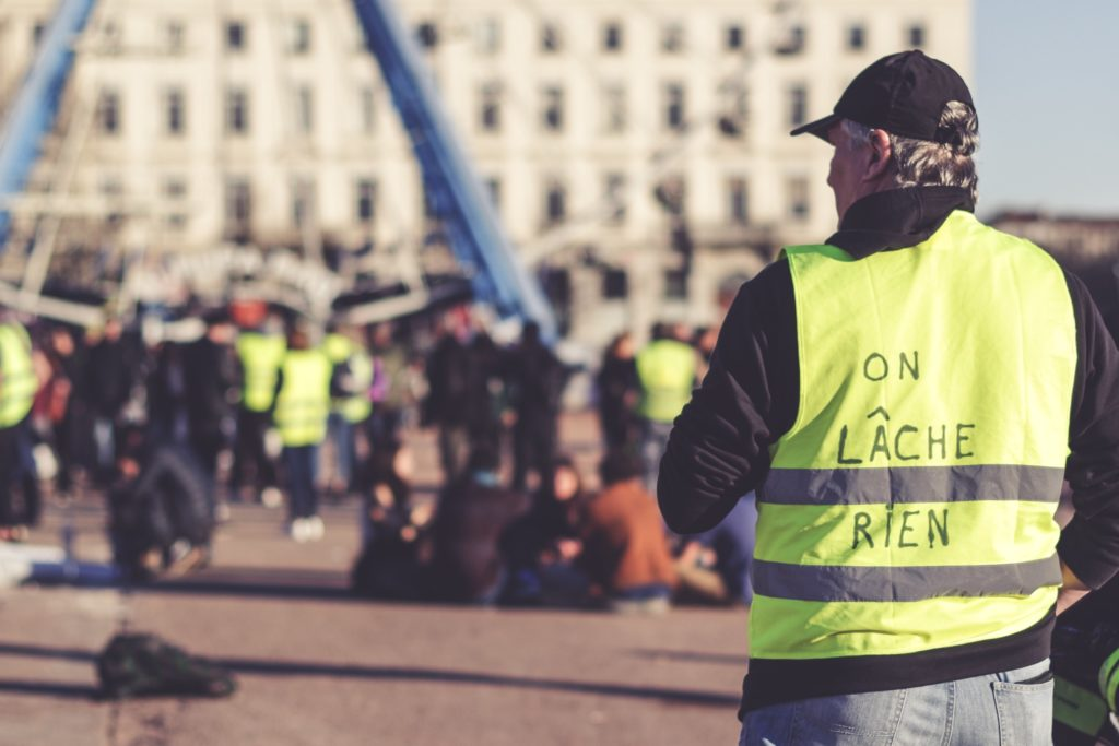 Man in yellow vest during the yellow vest moment in 2019
