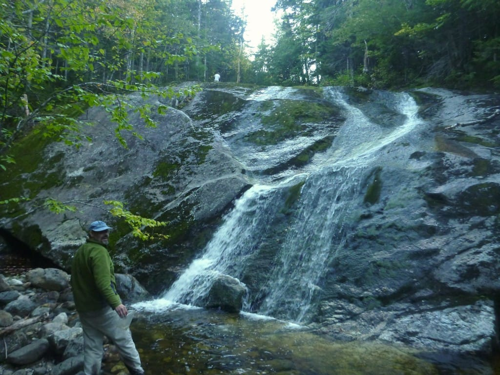 A hiker admires a beautiful waterfall in the White Mountains National Forest.