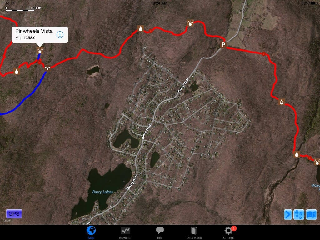 A screenshot from Guthook Guides of housing developments on the Appalachian Trail.