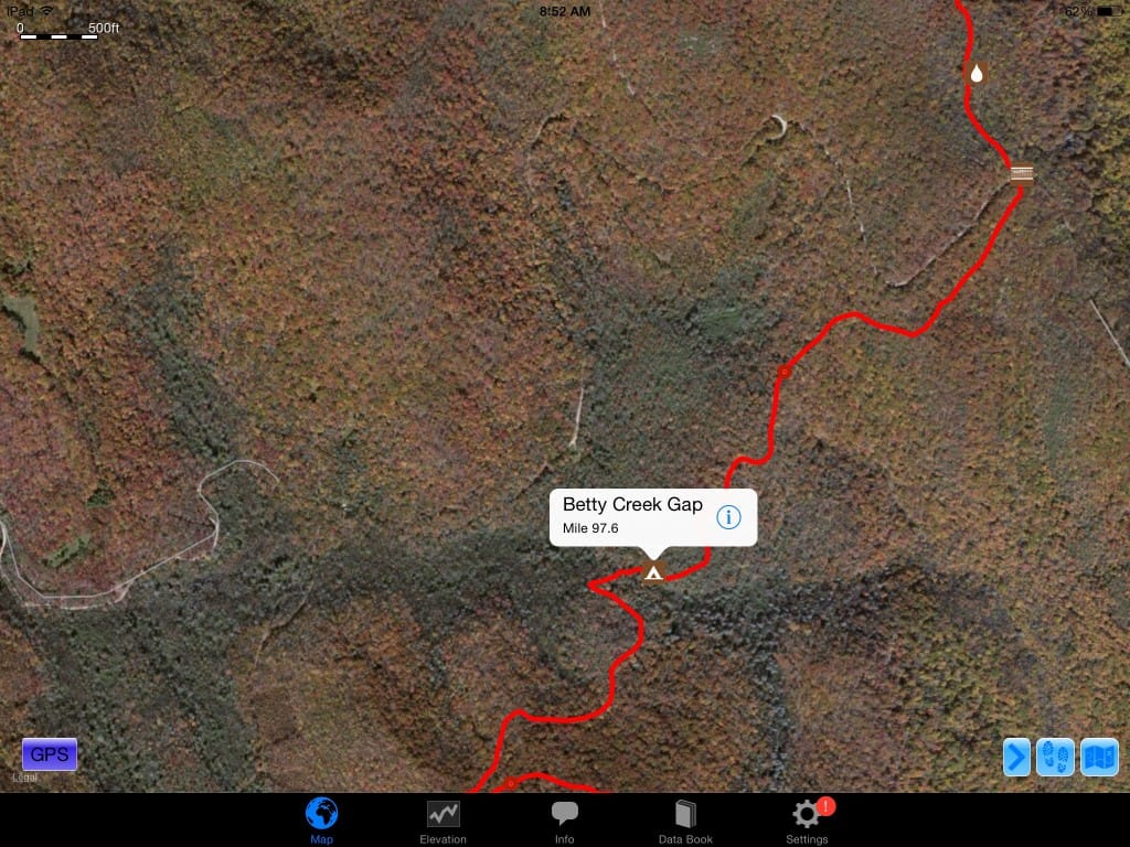 A screenshot from Guthook Guides of a road on the Appalachian Trail.