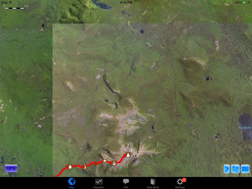 A screenshot from Guthook Guides of a wilderness area on the Appalachian Trail.