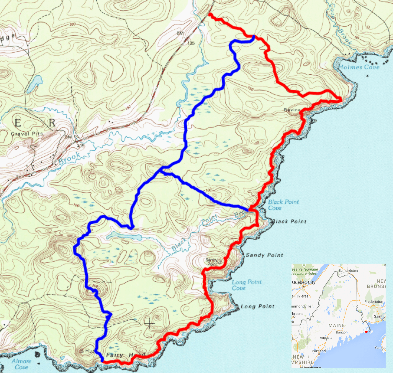 A map of the trail system at Maine's Cutler Coast.