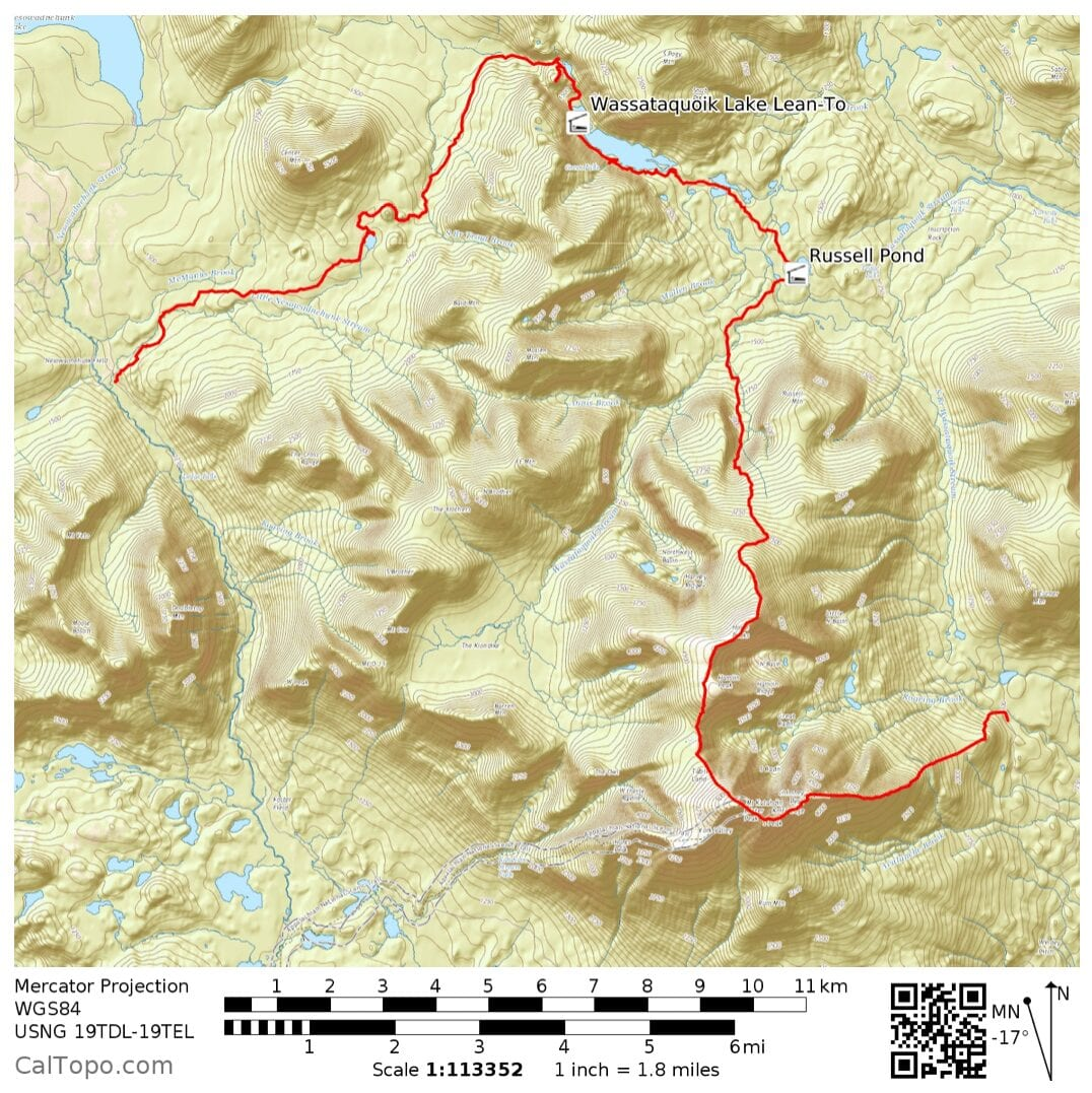 A map of the hike through Baxter State Park.
