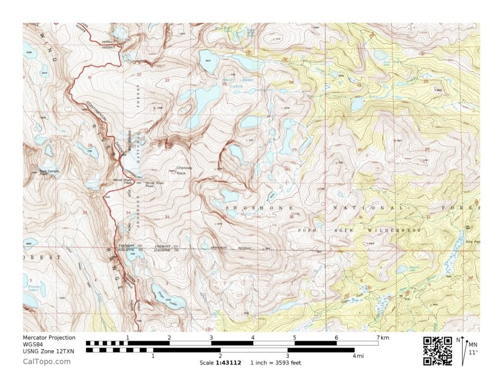 A topographic map of the Wind River Range.